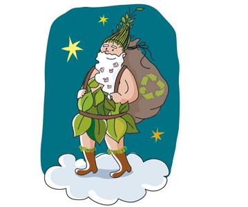 Illustration père Noël écolo par Gayannée Béreyziat