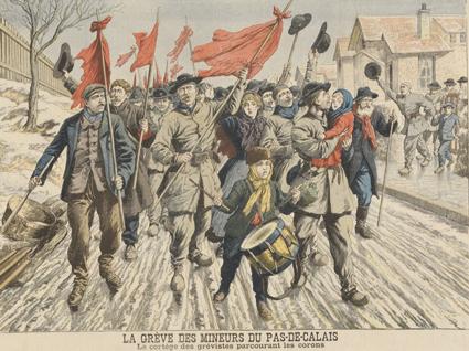 défilé de mineurs grévistes dans le Pas-de-Calais  en 1906