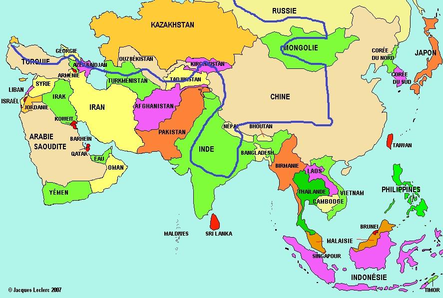 la carte du trajet en Asie prévu par Noémie et Mickaël